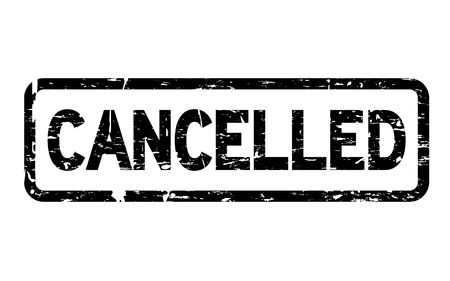 Grunge black cancelled square rubber seal stamp on white background