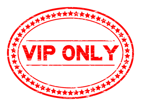 Grunge red VIP (Very important person) oval rubber seal stamp on white background