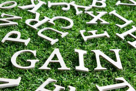 Wood alphabet in wording gain on artificial green grass background