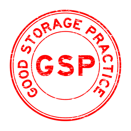 Grunge red GSP (Good storage practice) certified round rubber seal stamp on white background Vektoros illusztráció