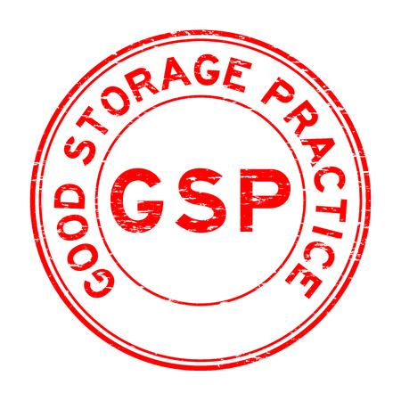 Grunge red GSP (Good storage practice) certified round rubber seal stamp on white background
