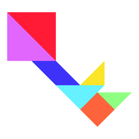 Color tangram in key shape on whtie background (Vector)