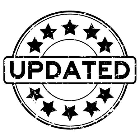 Schwarzes aktualisiertes Wort des Schmutzes mit rundem Siegelstempel der Sternikone auf weißem Hintergrund Vektorgrafik