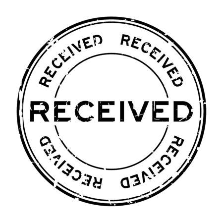 grunge black received round rubber seal stamp on white background
