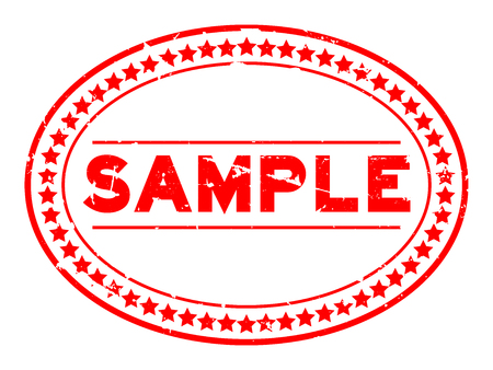 Grunge red sample oval rubber seal stamp on white background