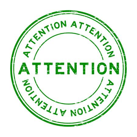 Grunge green attention round rubber seal stamp on white background Illustration