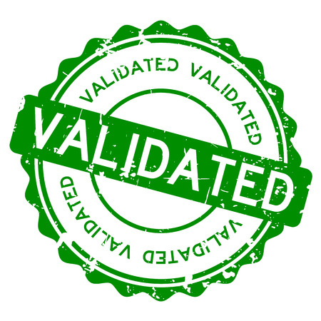 Grunge green validated wording round rubber seal stamp on white background.