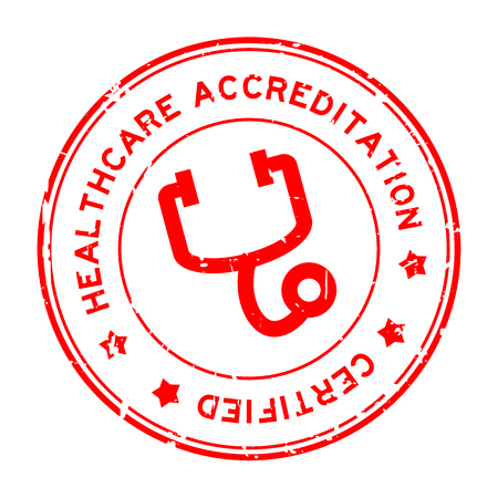 Grunge red healthcare accreditation with stethoscope icon round rubber seal stamp on white background Illustration