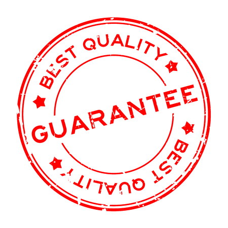 Grunge red best quality guarantee round rubber seal stamp on white background