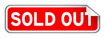 Red and white color of sold out square sticker background
