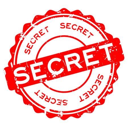 Grunge red secret word round rubber seal stamp on white background