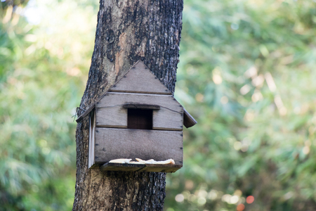 Brown wood bird house with green tree background