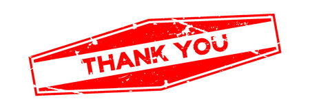 Grunge red thank you text in rubber stamp seal design on white background