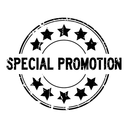 Grunge black special promotion with star icon round rubber stamp on white background  Illustration