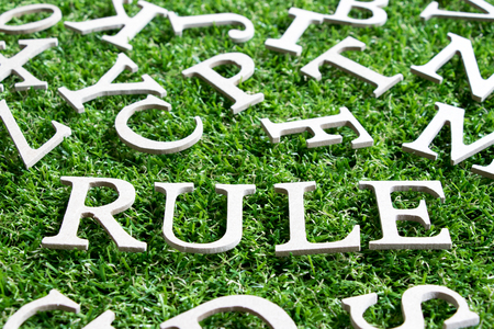 Wood alphabet in wording rule on artificial green grass background
