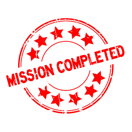 Grunge red mission completed with star icon round rubber seal stamp.