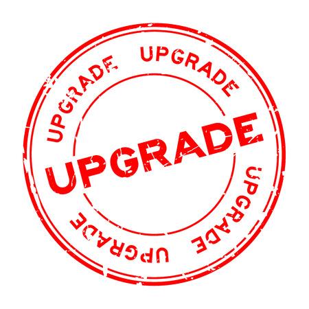 Grunge red upgrade wording round rubber seal stamp.
