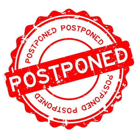 Grunge red postponed word round rubber seal stamp on white background. Vectores