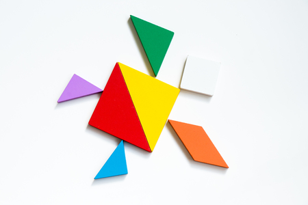 Colorful tangram puzzle in turtle or tortoise shape on white background Stock Photo