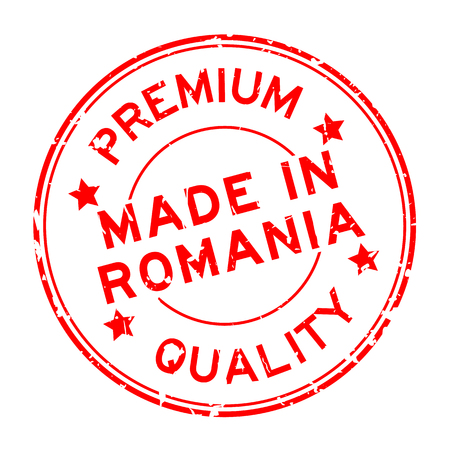 Grunge red premium quality made in Romania round rubber seal stamp on white background