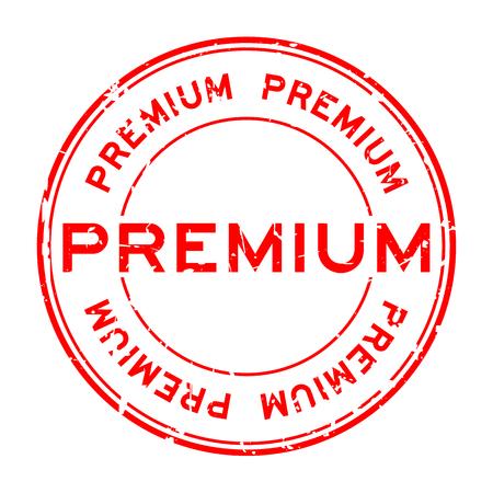 Grunge red premium round rubber seal stamp.