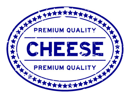 Grunge blue premium quality cheese oval rubber seal stamp on white background