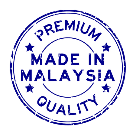 Grunge blue premium quality made in Malaysia round rubber seal stamp on white background