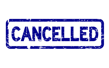 Grunge blue cancelled square rubber seal stamp on white background Imagens - 92833612