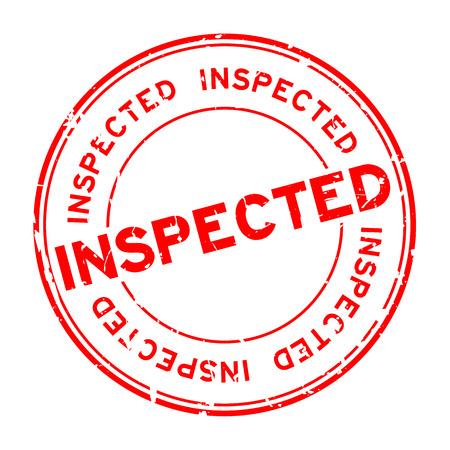 Grunge red inspected word round rubber seal stamp on white background Vektoros illusztráció