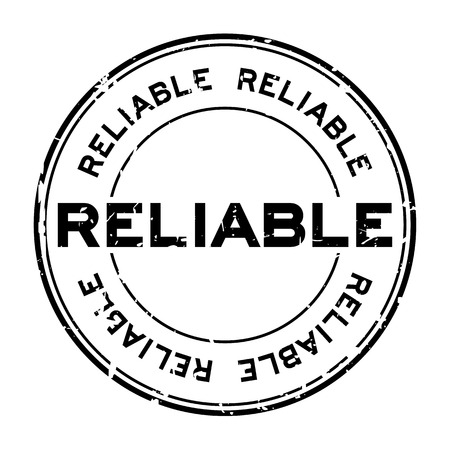 Grunge black reliable round rubber seal stamp on white background Vetores