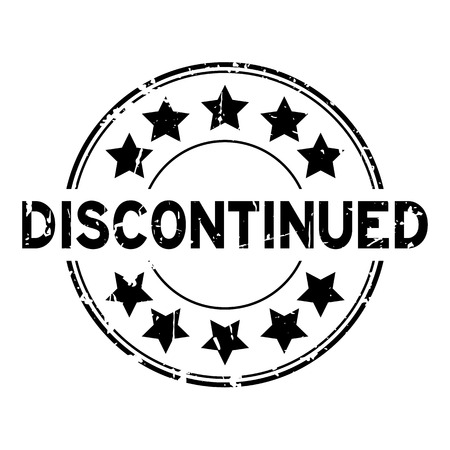 Grunge black discontinued with star icon round rubber stamp Illustration