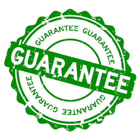 Grunge green guarantee round rubber seal stamp on white background