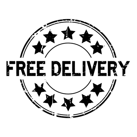 Grunge black free delivery with star icon round rubber seal stamp on white background