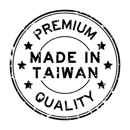 Grunge black premium quality made in Taiwan round rubber seal stamp on white background Vettoriali