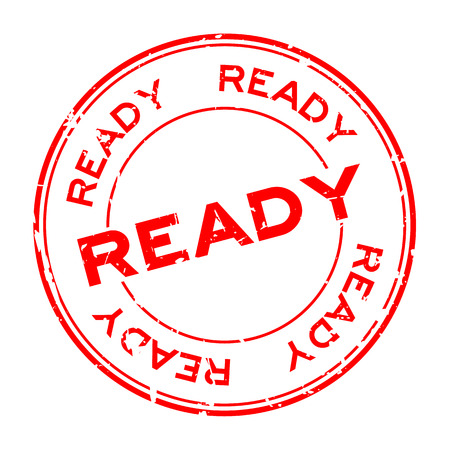 Grunge ready round rubber seal stamp on white background 向量圖像