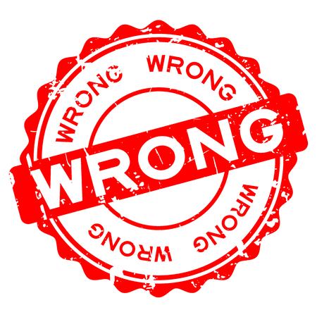 Grunge red wrong word round rubber seal stamp on white background