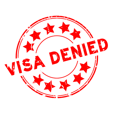 Grunge red visa denied with star icon round rubber seal stamp on white background Ilustrace