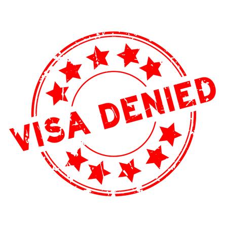 Grunge red visa denied with star icon round rubber seal stamp on white background Illustration