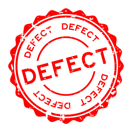 Grunge red defect word round rubber seal stamp on white background