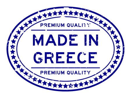 Grunge blue premium quality made in Greece oval rubber seal stamp on white background