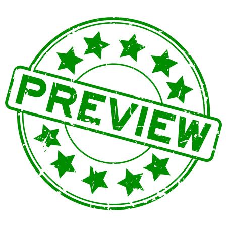 Grunge grünes Gummivorschauwort mit rundem Siegelstempel der Sternikone auf weißem Hintergrund