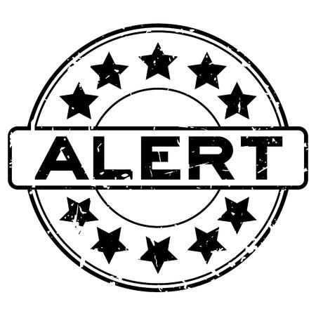 Grunge black  alert word with star icon round rubber seal stamp on white background