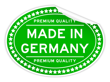 Green color premium quality made in germany oval seal sticker on white background Illustration