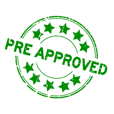Grunge green pre approved with star icon round rubber seal stamp on white background Illustration