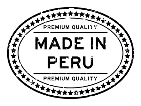 Grunge black premium quality made in Peru oval rubber seal stamp on white background 向量圖像