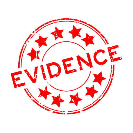 Grunge red evidence word with star icon. Round rubber seal stamp on white background