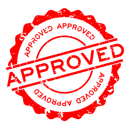 Grunge red approved word round rubber seal stamp on white background.
