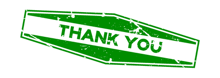 Grunge green thank you wording hexagon rubber seal stamp on white background  イラスト・ベクター素材