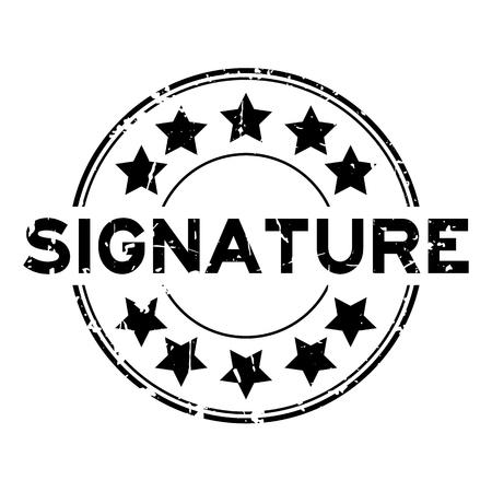 白い背景に星のアイコン丸いゴム印スタンプとグランジ黒の署名の言葉