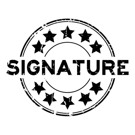 Grunge black signature word with star icon round rubber seal stamp on white background Çizim